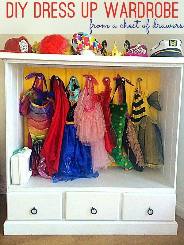 DIY dress up wardrobe - great storage idea to create a wardrobe for dress up costumes from an old chest of drawers