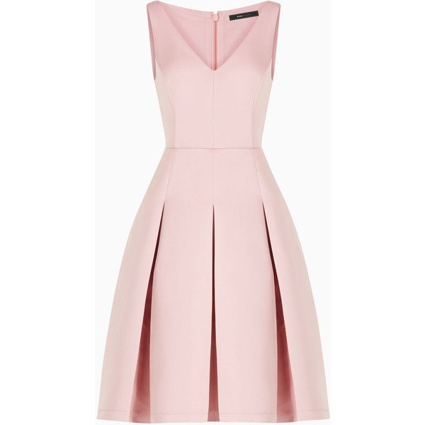 BCBGMAXAZRIA Tilldah Pleated Dress ($299) ❤ liked on Polyvore featuring dresses, petal pink dresses, special occasion dresses, a line cocktail dress, pink evening dress and mesh cocktail dress
