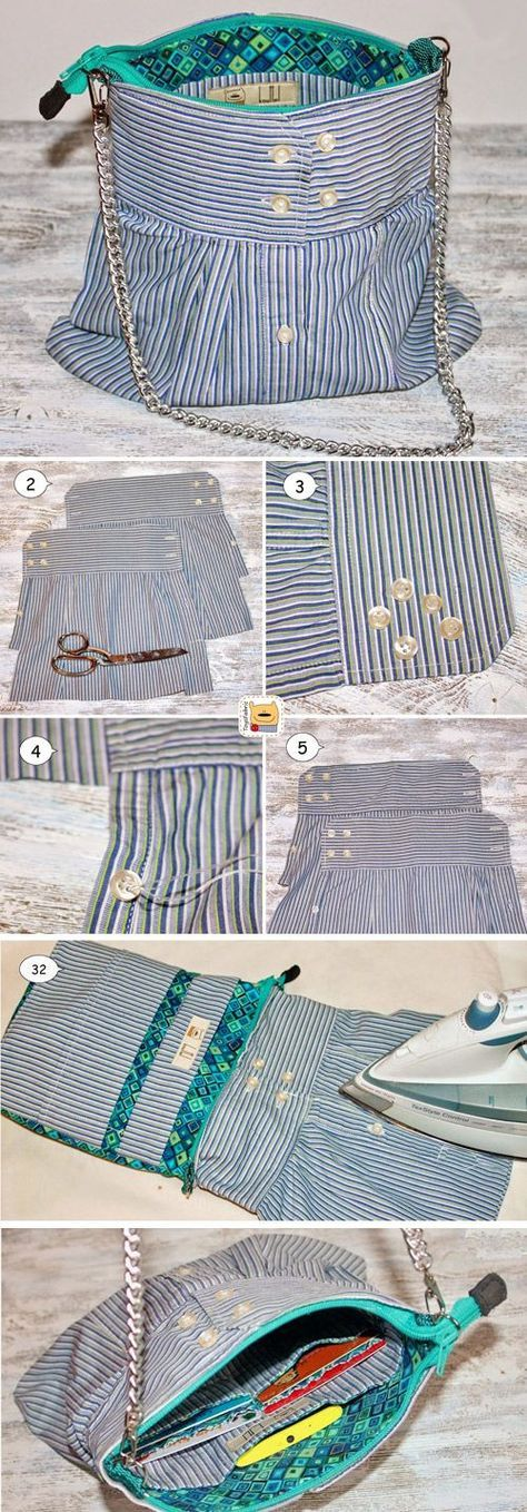 How to sew a Bag out of the sleeves of the shirt. Tutorial www.free-tutorial…
