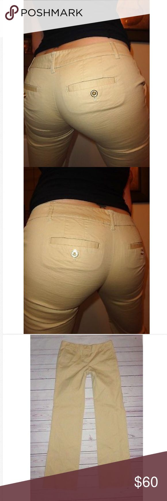 TORY BURCH Tan Slacks Pants w/Flap Pockets! 4 x 33 TORY BURCH Tan Khaki Slacks Pants w/Flap Pockets & Gold Buttons! Size 4 x 33 Great Used! 98% cotton & 2% spandex Tory Burch Pants Trousers