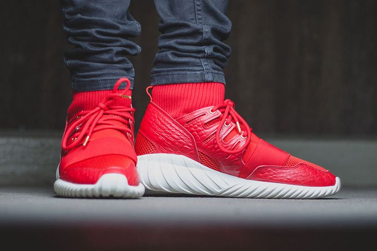 Adidas Tubular Radial Red On Feet