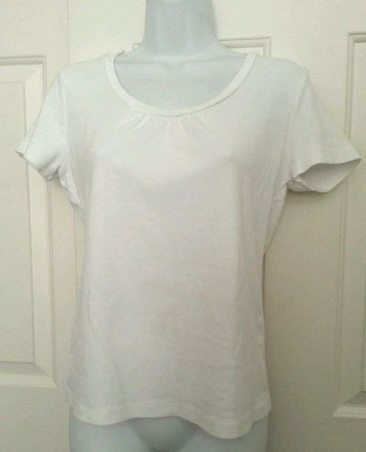JONES NY Sport Size M Petite Womens White Cotton T Shirt Top Short Sleeve…