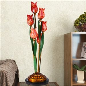 (EU Lager)Led Tischlampe Florentiner Glas Tulpen Design Rot 6 Flammit