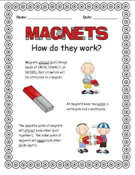 Magnet worksheets to teach your students how they work. (CCSS)