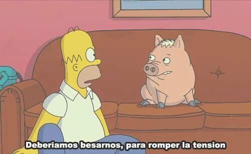 Imagen de homer, kiss, and pig