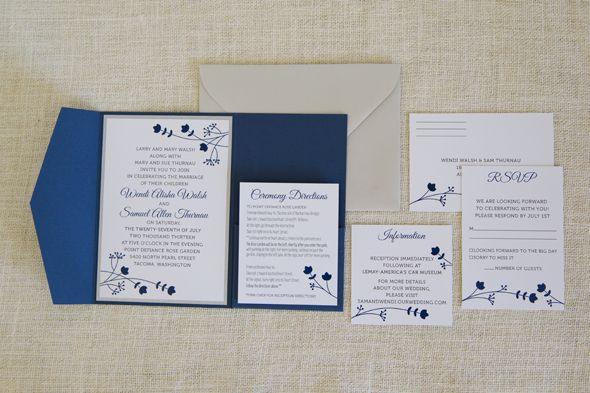 Wedding Design / Navy and silver wedding invitation suite by Faye Champlin Studio