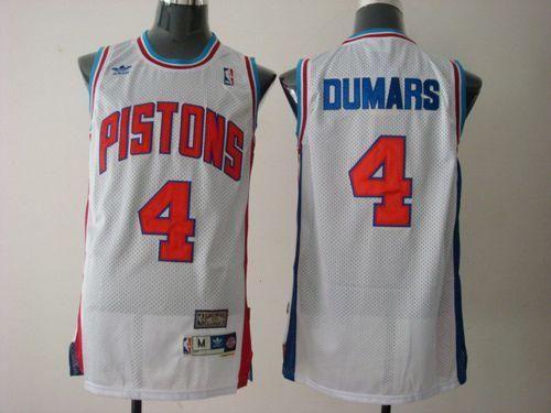 Pistons #4 Joe Dumars White Throwback Stitched NBA Jersey