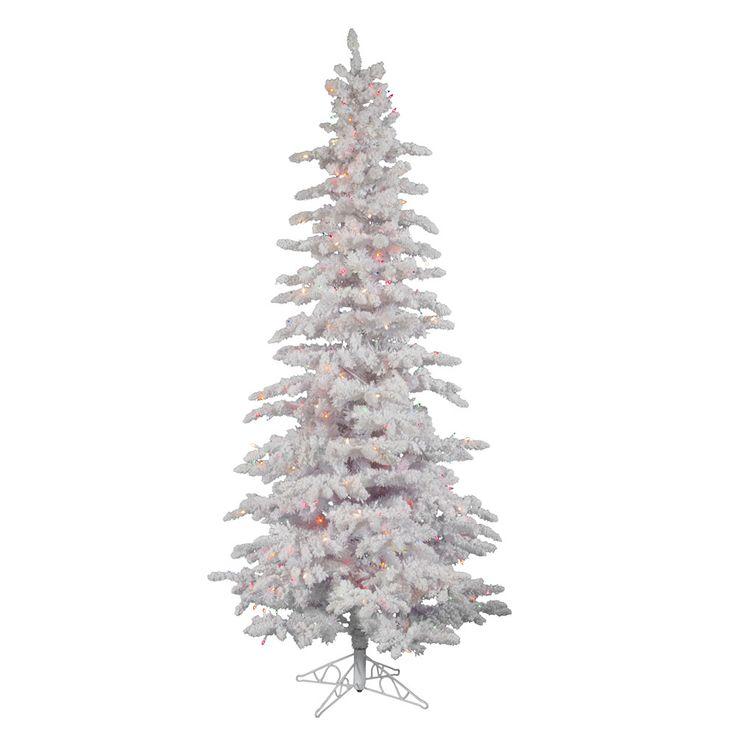vickerman 9ft flocked white on white christmas tree 495 multicolor italian led