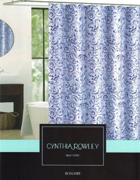 Cynthia Rowley Bonaire Paisley Scroll Print Fabric Shower Curtain 72 Inch By