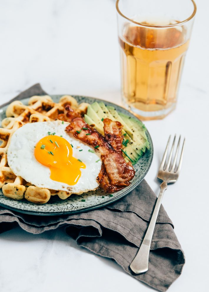 savory waffles with avocado and bacon