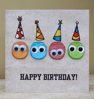 birthday card for kids using a circle punch and wiggly eyes. visit page for more details