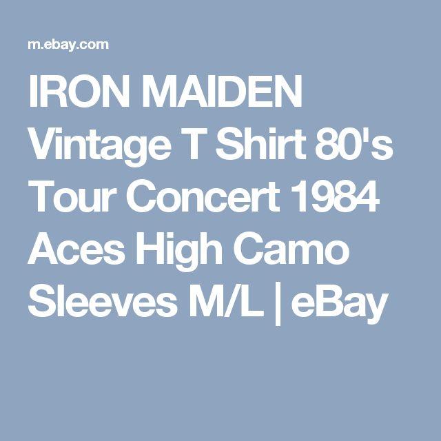 IRON MAIDEN Vintage T Shirt 80's Tour Concert 1984 Aces High Camo Sleeves M/L | eBay