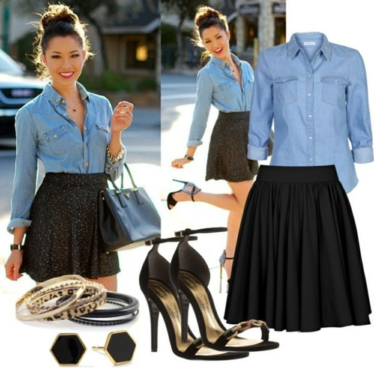 Jean Shirt and Black Skater Skirt Outfit Idea. Would be super cute with the lularoe madison!   For more style inspiration, join us at www.facebook.com/groups/lularoekateandlea