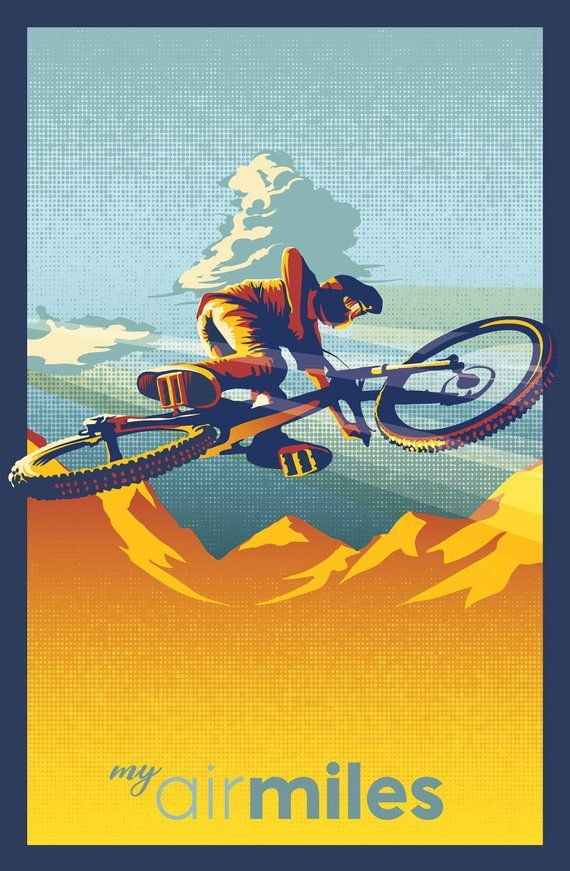 Retro Motivational Mountain Bike Poster Print Thank You For Checking Out My Work You Will Receive Original Artwor Bike Poster Bike Art Print Mountain Bike Art