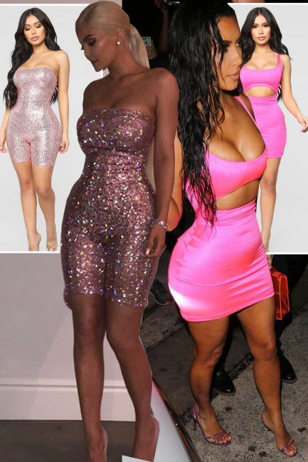 59a2cb9878 Kylie Jenner Fashion Nova  Get Kylie s sequin playsuit and Kim Kardashian s  pink cut-out dress for less as store launches 21st birthday inspired  outfits ...