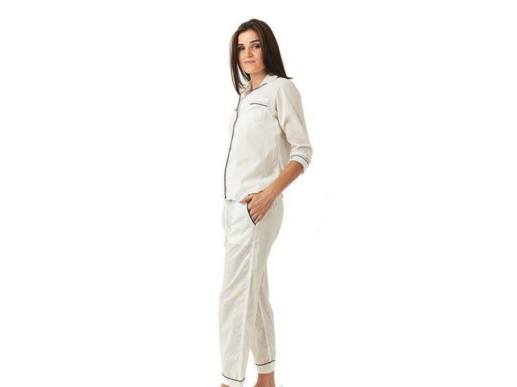 Hummingbird Nightwear Ladies Pajamas - Cotton Long Sleeve Set in White - $50