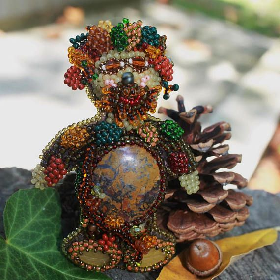 Bead embroidered brooch Forestman Beaded jewelry Brooch