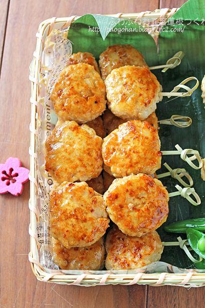 ふわふわ豆腐とコリコリ蓮根の鶏つくね串☆行楽弁当にも・・ ぱおのおうちで世界ごはん☆