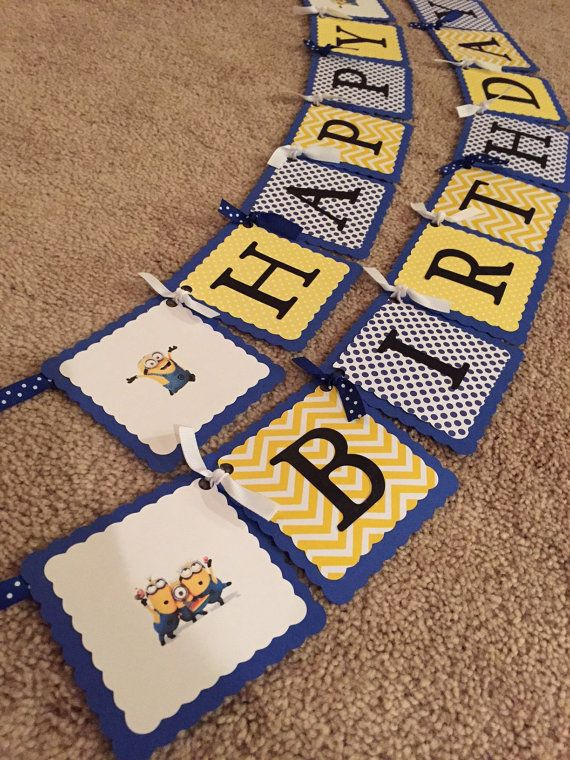 Minion inspired happy birthday banner by BellsNBerries on Etsy