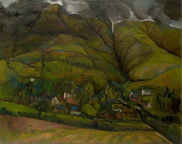 Village beneath Lake District fells by Sheila Mary Fell RA FRSA (1931-1979)