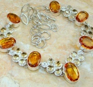 Dazzling Quality Citrine Quartz Sterling Silver necklace