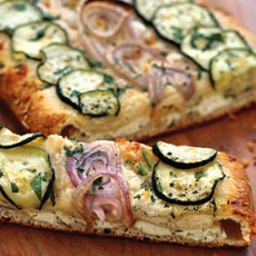 Cheesy Zucchini and Red Onion Flatbread  will play around with making pizza dough, maybe using Immaculate croissant dough...