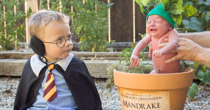 Una escena de Harry Potter y la Cámara Secreta fue la fuente de inspiración para una fotografías de dos bebés disfrazados que se ha vuelto viral en las redes