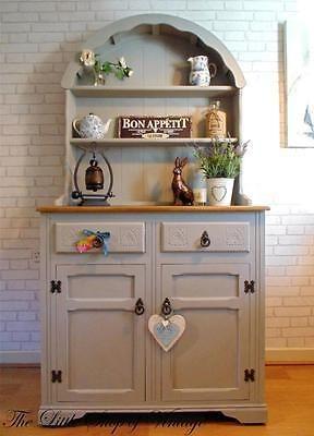Beautiful Dutch Priory Oak Dresser Sideboard Cupboard Cabinet Shabby Chic Grey