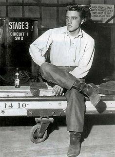 Elvis Presley on the set of Love Me Tender, 1956.