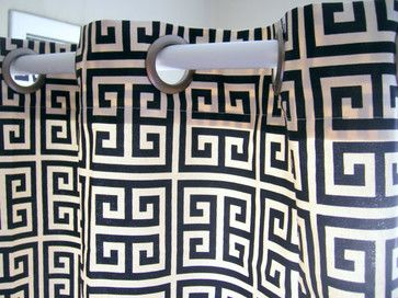 Shower Curtain Towers Navy Blue and Ivory Greek Key By Elisabeth Michael - contemporary - shower curtains - Etsy