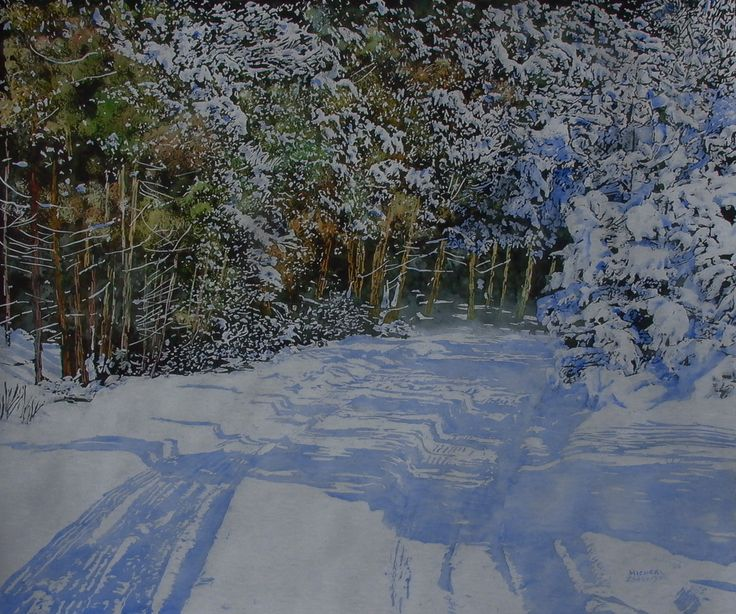 "Road thru winter 26"" x 28"" micheal zarowsky watercolour on arches paper - private collection"
