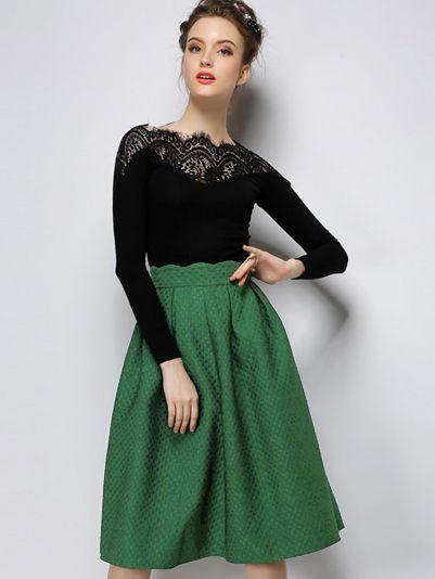 High Waist Flare Green Skirt