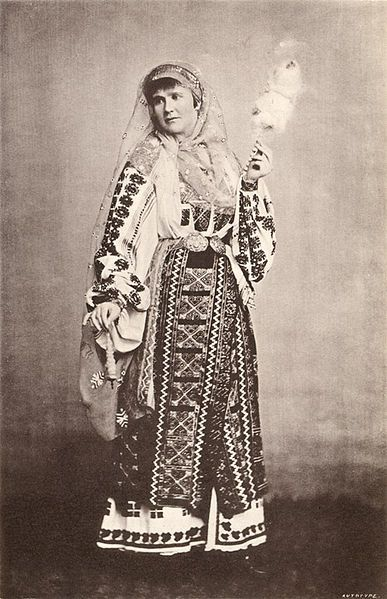 H. M. Pauline Elizabeth First Queen of Roumania in the National Costume from a photograph by Franz Duschek, Roumania Past and Present by James Samuelson, George Philip & Son, London, 1882.