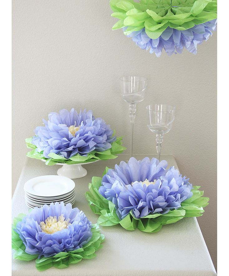 purple flower pom pom set. Love this idea for a spring themed party