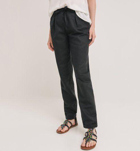 Pantalon en lin mélangé Femme noir - Promod