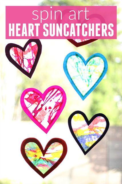 Toddler Approved!: Spin Art Heart Suncatchers