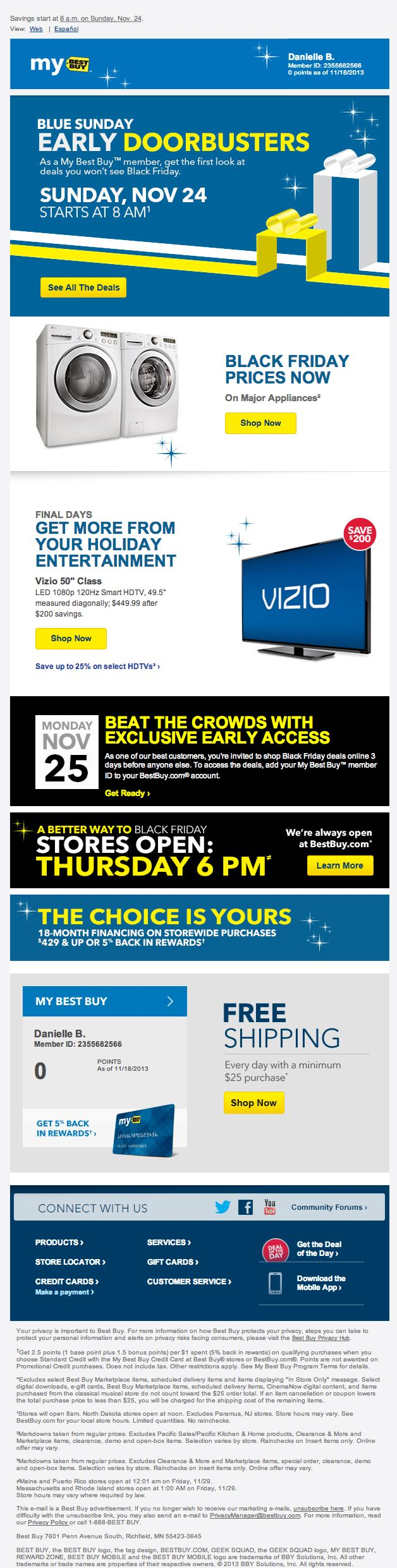 Best Buy Holiday Email 2013 Pre Black Friday Black Friday Email Cyber Monday Email Black Friday