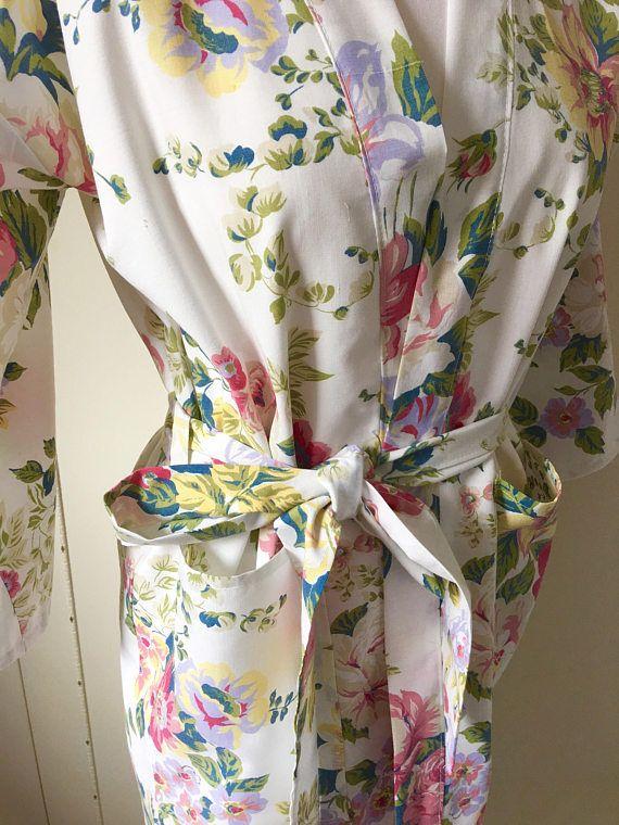 kimono dressing gown, bridal party robe, bridesmaid robe, kimono robe, vintage fabric robe, kimono wrap, bridesmaid wrap, luxury kimono robe