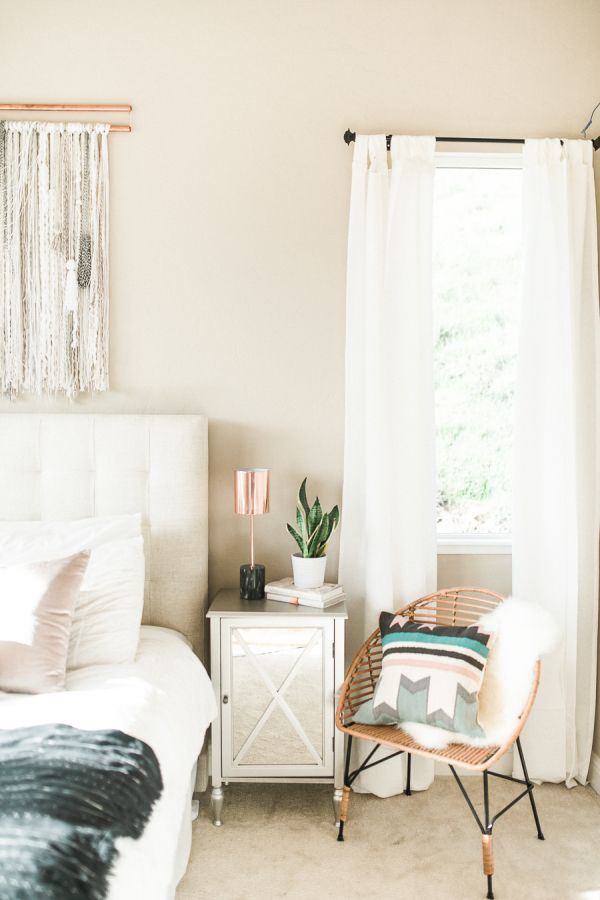 Modern Bohemian California Home Tour Tan Bedroom