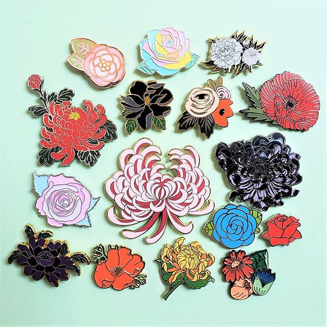 ac99d828932 Saying goodbye to summer one last time with an enamel pin bouquet. Do you  have a favorite flower or plant that you would like to see made into a pin?