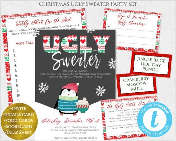Ugly Sweater Christmas Party Invitation Template, Printable Holiday