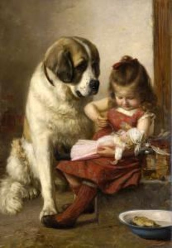 Paul Hermann Wagner (1852 – 1937, German).  Little girl with doll and St. Bernard dog.