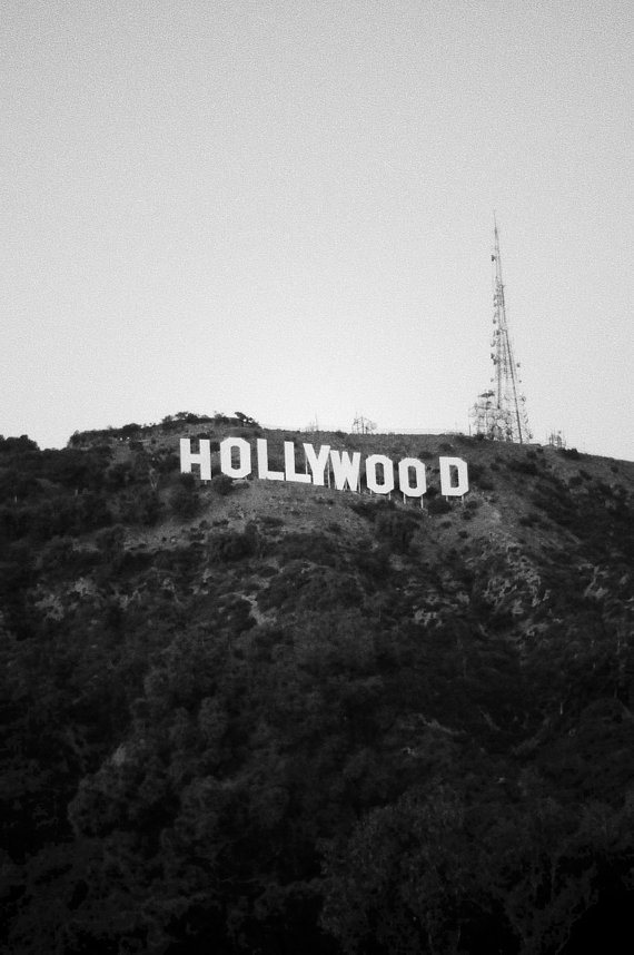 8 X 10 Hollywood Sign Los Angeles Travel Photography Hills California Landscape Black And White Wall Art Home Decor Digital Print