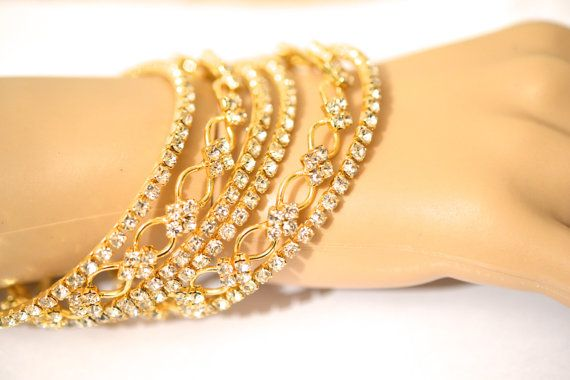 Beautiful Gold Tone Diamante Bollywood Indian Bangle by bjewel78