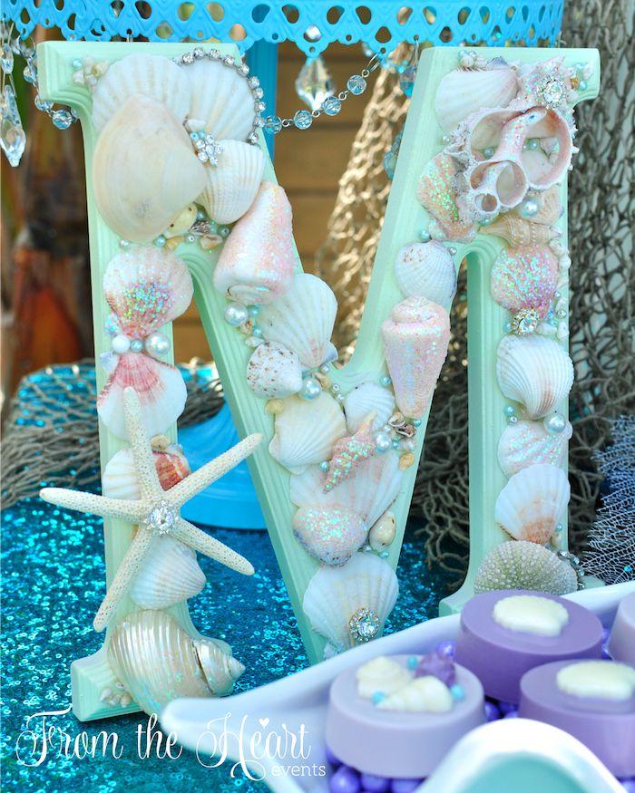 Sea shell letter from a Vintage Glamorous Little Mermaid Birthday Party on Kara's Party Ideas | KarasPartyIdeas.com (33)