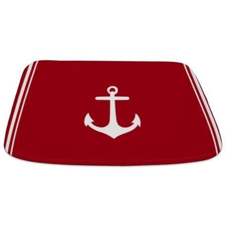 Nautical Dark Red Anchor Bathmat on CafePress.com