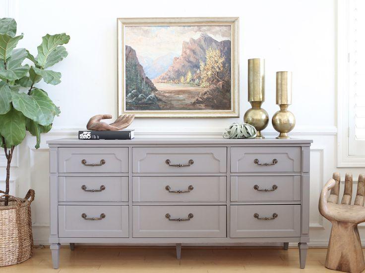Vintage Modern Gray 9 drawers Dresser No 506