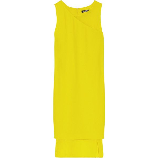 DKNY Georgette-paneled crepe dress (3 445 UAH) ❤ liked on Polyvore featuring dresses, vestidos, clothing - dresses, chartreuse, loose fit dress, crepe dress, chartreuse dress, panel dress and dkny dresses