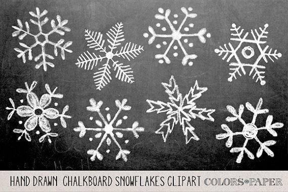 Schoolbord Hand getrokken sneeuwvlokken Clipart door ColorsonPaper