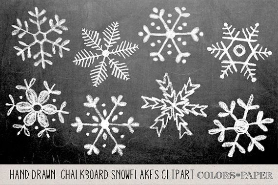 Chalkboard Hand Drawn Snowflakes Clipart by ColorsonPaper on Etsy